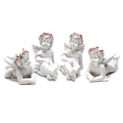 Figura Querubín Corona de rosas tumbado