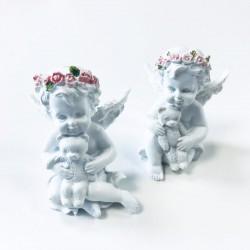 Figura Querubín Corona de rosas con osito
