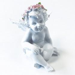 Figura Querubín Corona de rosas corazón