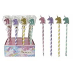 Lápiz Unicornio con borrador de purpurina