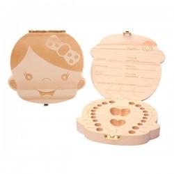 Cajita de madera para guardar los dientes de leche - Niña