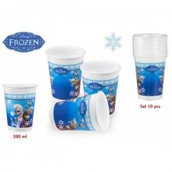 Pack 10 vasos Frozen - 200 ml.