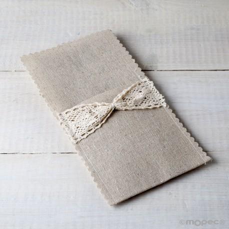 Sobre de lino y ganchillo para cubiertos